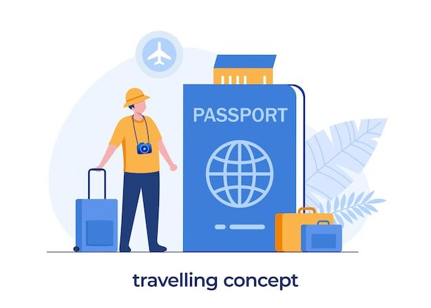 Concetto di passaporto di viaggio, vacanza, uomo con una borsa, passaporto e biglietto dell'aereo, turista, illustrazione piatta
