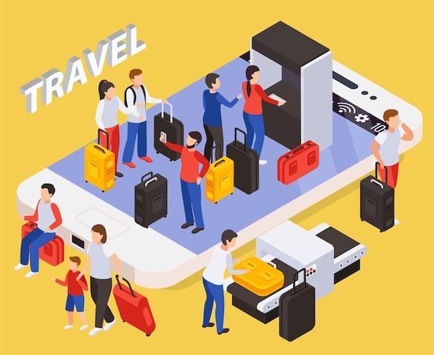 Concetto di persone in viaggio con illustrazione isometrica di simboli di smartphone e bagagli
