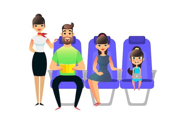 Persone in viaggio passeggeri ea bordo dell'aereo