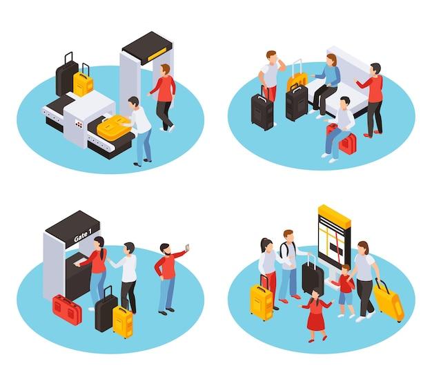 Persone in viaggio impostate con simboli aeroportuali illustartion isolato isometrico di vettore