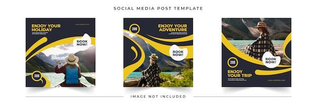 Modello di raccolta post di feed di social media in viaggio