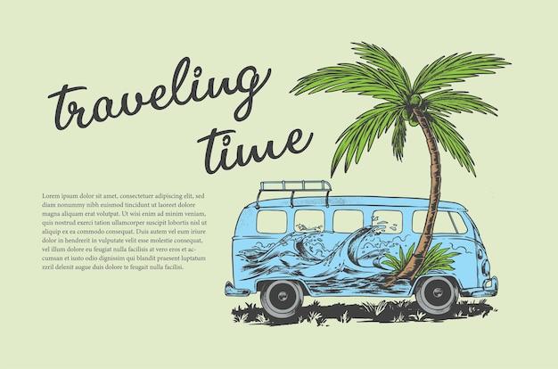 Vettore di illustrazione del tempo di viaggio per la progettazione di poster di design di tshirt e per qualsiasi scopo