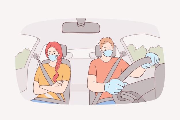 Viaggiare, usare un taxi, indossare una maschera per il viso durante la pandemia covid-19.