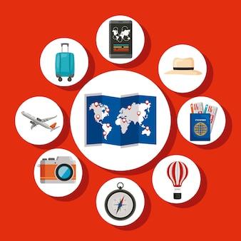 Vacanze in viaggio nove set di icone