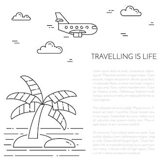 Viaggiando banner verticale con palme sull'isola, aereo e stelle marine in cerchio.