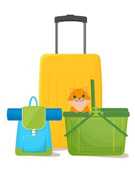 Viaggiare con animali domestici valigie zaino e trasportino per gatti un gatto in un'illustrazione di vettore isolato