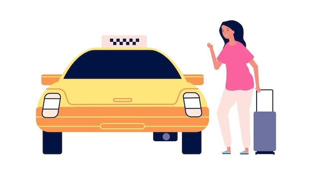 Viaggiatore e taxi. strada per l'aeroporto, la giovane donna con la valigia entra in macchina gialla. carattere vettoriale turistico femminile isolato. trasporto in taxi, illustrazione dalla strada all'aeroporto