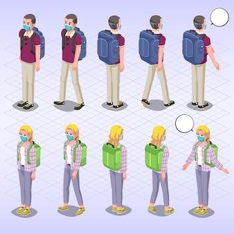 Set di caratteri della maschera di protezione da portare del viaggiatore isometrico