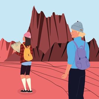 Viaggiatori coppia avventura arida scena avventura