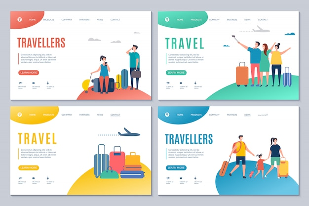 Viaggiatori e modelli di landing page di viaggio con adulti e bambini con valigie