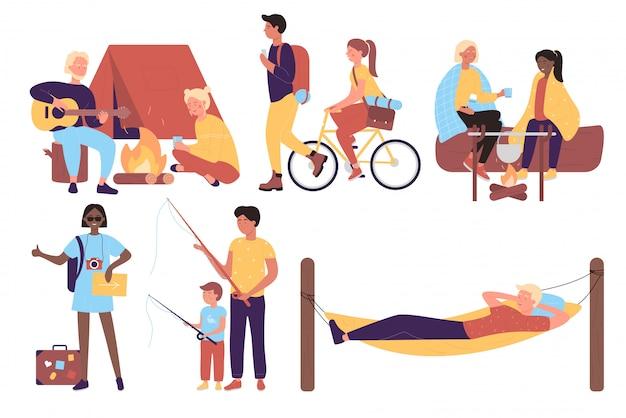 Gente attiva di viaggio sull'insieme piano dell'illustrazione del carattere di vacanza