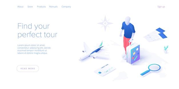 Viaggiare in aereo concetto in isometrico. giro o viaggio di volo intorno al mondo. servizi di ricerca e prenotazione di biglietti aerei economici layout del sito web o modello di banner web.