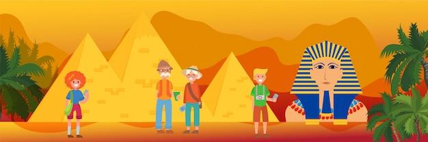 Viaggiando in egitto, punto di riferimento e simbolo faraone, illustrazione della piramide di cheope. famiglia o gruppo di turisti di fronte a monumenti egiziani.