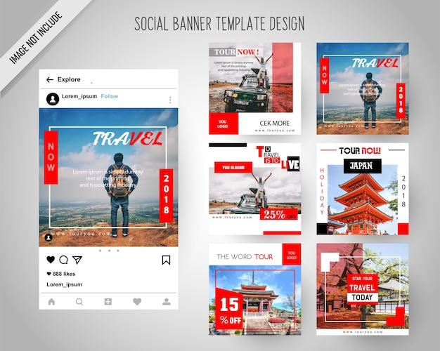 Viaggiare banner di social media per il marketing digitale