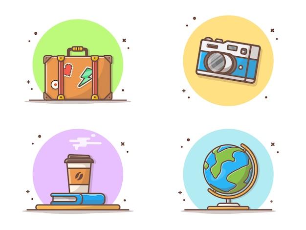 Illustrazione di vettore degli elementi di tempo di viaggio