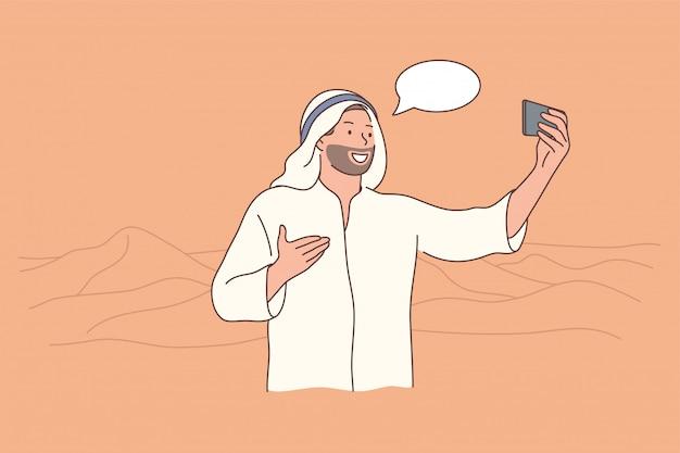 Concetto di arabia di comunicazione dello smartphone di turismo itinerante
