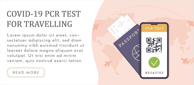 Viaggiare con il test pcr covid-19. passaporto con biglietto aereo e risultato del test del coronavirus sul telefono