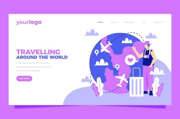 Viaggiando sulla landing page del turismo locale mondiale