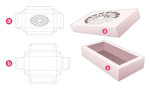 Scatola vassoio con coperchio che ha un modello fustellato a forma di mandala
