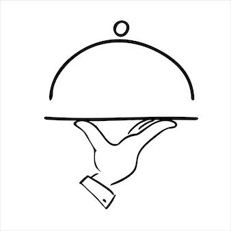 Vassoio e illustrazione vettoriale fatta a mano a mano isolata su bianco ristorante menu card design template