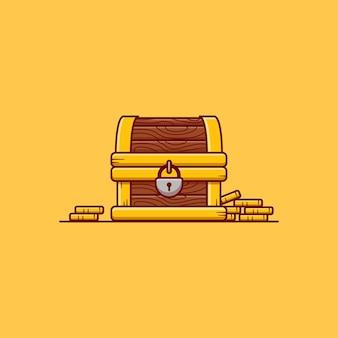 Il design dell'illustrazione vettoriale della scatola del tesoro è pieno di monete d'oro