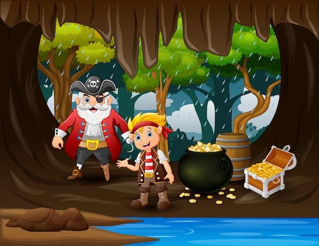 Cartone animato tesoro con pirata in grotta d'oro