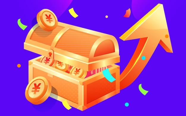 Materiale per aumentare il reddito del forziere del tesoro