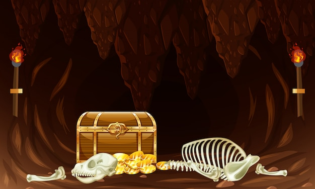 Scrigno del tesoro nella grotta sotterranea