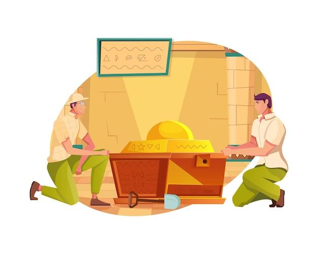 Composizione piatta caccia al tesoro con due uomini che aprono la cassa tomba