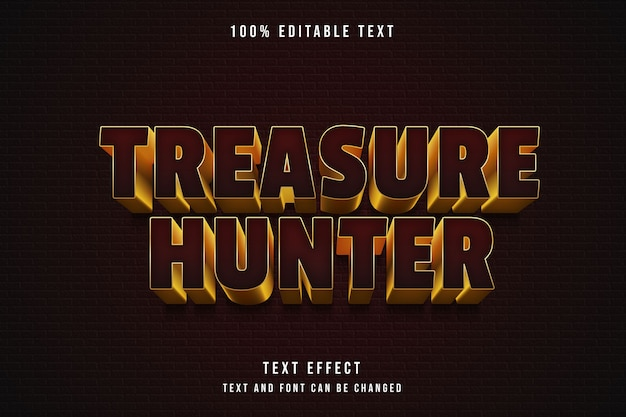 Cacciatore di tesori, 3d testo modificabile effetto rosso gradazione oro giallo stile testo comico