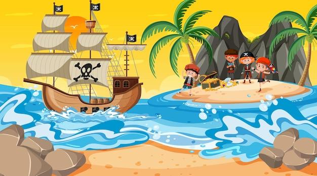 Scena dell'isola del tesoro al tramonto con i bambini dei pirati