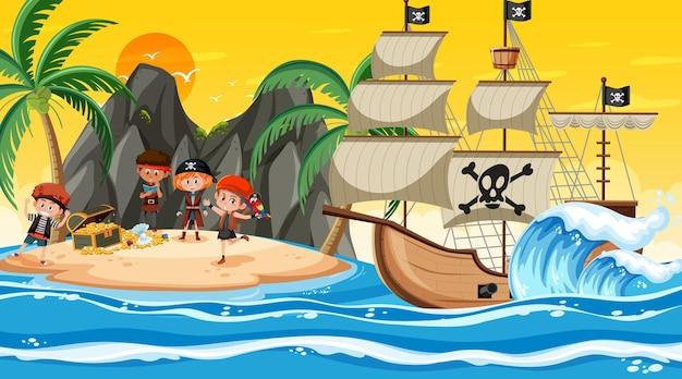 Scena dell'isola del tesoro al tramonto con i bambini dei pirati Vettore Premium