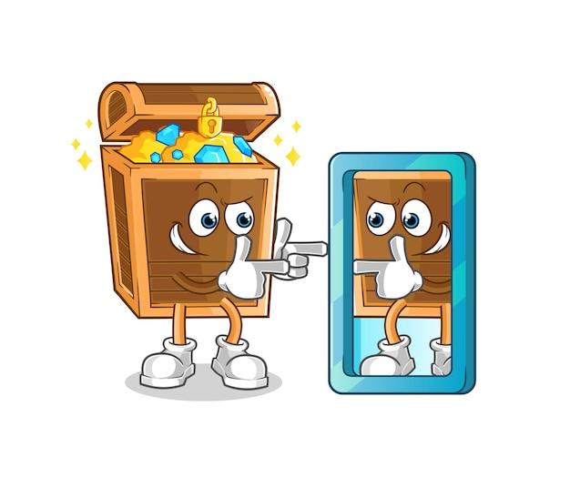 Il tesoro che esamina il fumetto dello specchio. mascotte dei cartoni animati