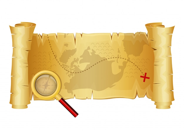 Illustrazione di progettazione della mappa del tesoro isolata su fondo bianco