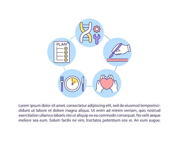 Icone della linea del concetto di trattamento con testo