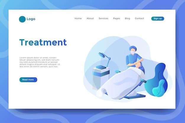 Illustrazione del trattamento per la pagina di destinazione del sito web o dell'app mobile