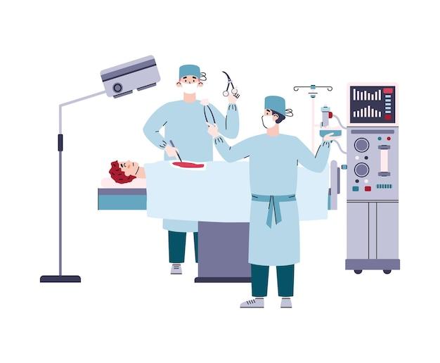 Trattamento dell'insufficienza renale in ospedale medico un'illustrazione isolata di vettore
