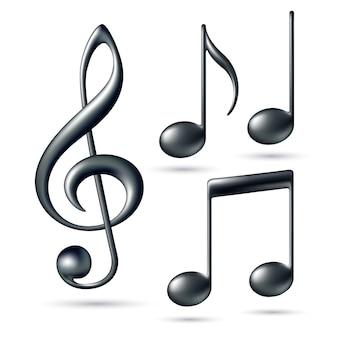 Chiave di violino con note su sfondo bianco. illustrazione