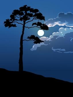Un albero in una bella notte