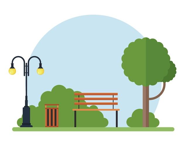 Albero, banco, lampada e pattumiera nell'illustrazione del parco