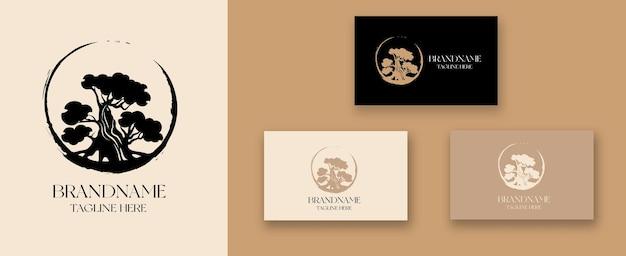 Disegno del logo dell'albero bonsai