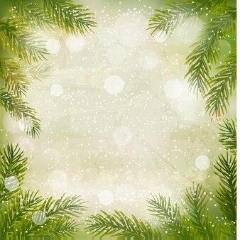 Rami degli alberi e fiocchi di neve