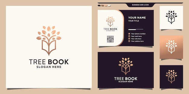 Logo del libro combinato con albero con stile al tratto e design del biglietto da visita vettore premium