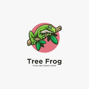 Illustrazione logo line art di posa della rana di albero
