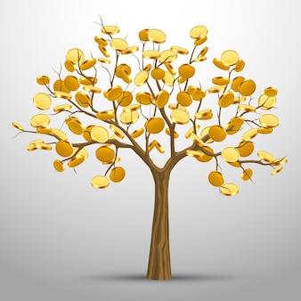 Un albero da cui crescono monete d'oro. illustrazione vettoriale
