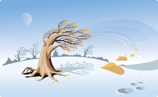 Albero sulla radura. caduta delle foglie. prima neve