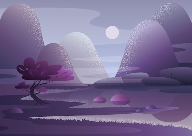 Albero che cresce sulla riva del lago contro le colline delle montagne