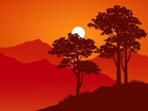 Albero sopra le colline nel tramonto