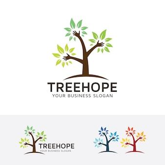 Modello di logo albero speranza Vettore Premium