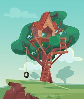 Illustrazione di cartone animato piatto casa sull'albero